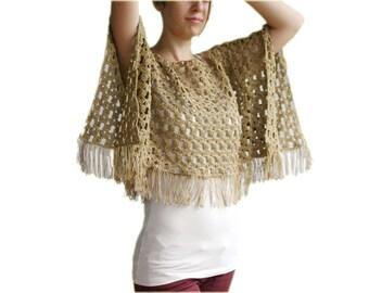 Plus Size Dark Beige Poncho with Fringes - Neutral Cotton Cape XL XXL -  Spring Summer Fall Fashion - Women Teens Accessories