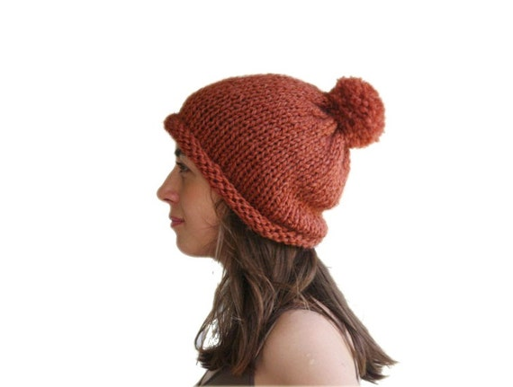 Knit Slouchy Hat  with Pom Pom in Rust - Fall Winter Fashion - Women and Teens Accessories - Oversized Beret Brown - Beanie