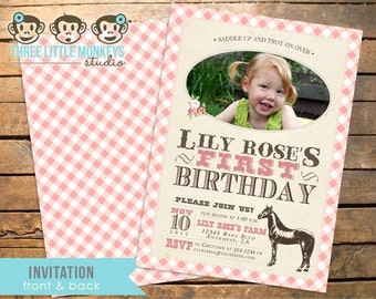 Vintage Pony Horse Cowgirl Equestrian Invitation
