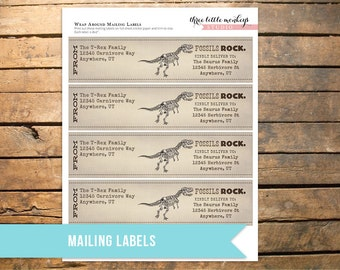 Fossil Hunter Wrap Around Mailing Labels
