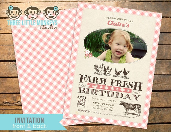 Vintage Farm Fresh Photo Invitation PLUS Matching Thank You Note
