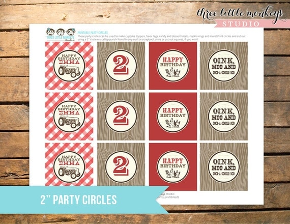 Personalized Vintage Barnyard Bash Party Circles - Cupcake Toppers, Gift Tags, Favor Tags and More