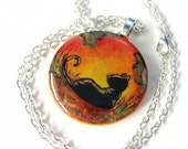 Black Cat Necklace Pendant Autumn Fall Hand Painted Wood Resin - rainbowofcrazy