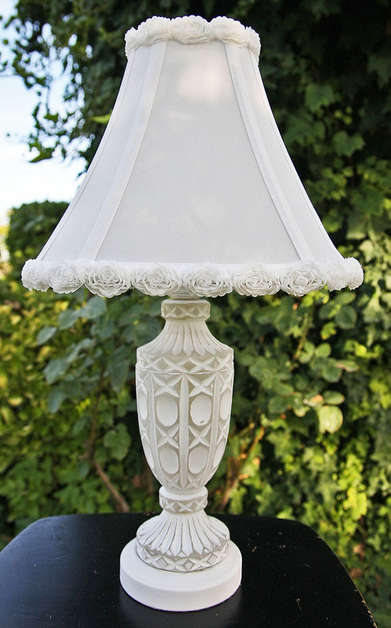 Romantic White upcycled Glass Crystal Hand Painted Lamp with Shade