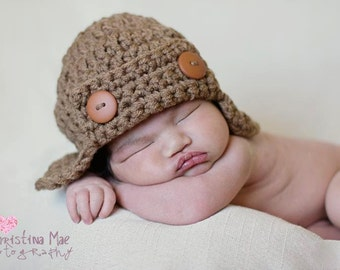 Baby Aviator Hat--Newborn--Infant--Toddler--Crochet
