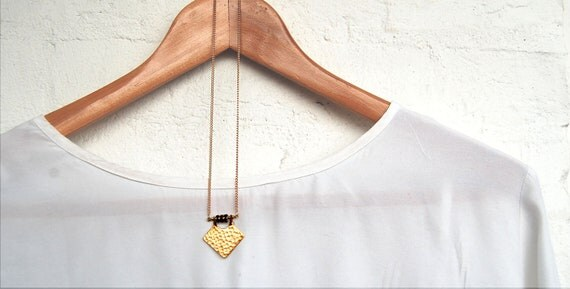 Hammered diamond pendant and black swarovski crystal necklace on gold plated chain - simple, everyday jewellery, geo, minimal