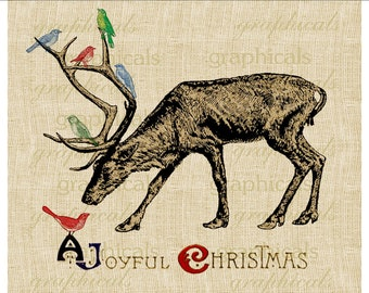 Reindeer birds antlers Christmas instant clip art Digital download image for Iron on fabric transfer Burlap Tote bag Pillow Card No. 360