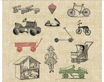 Christmas toys bicycles wagons Instant Digital download image for iron on fabric transfer burlap papercraft tote bags cards pillows  No. 235