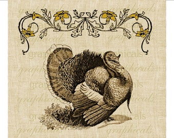 Vintage Fall Turkey Instant Digital download graphic image for Iron on fabric transfer burlap decoupage pillow tote bag card decal  No. 1724