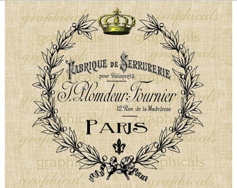 Paris digital download Vintage ephemera ad fabric laurel wreath gold crown for transfer to fabric paper burlap pillows tote bags No. 468