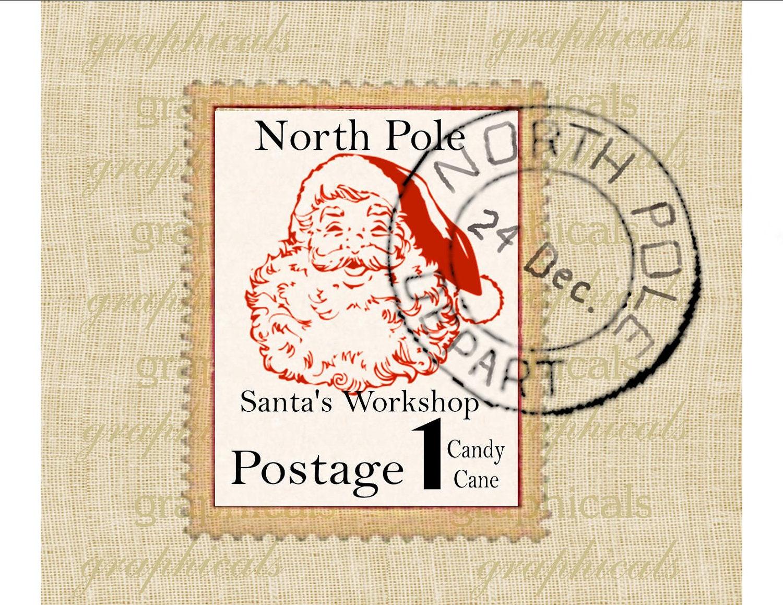 Santas workshop north pole postage postmark digital by graphicals