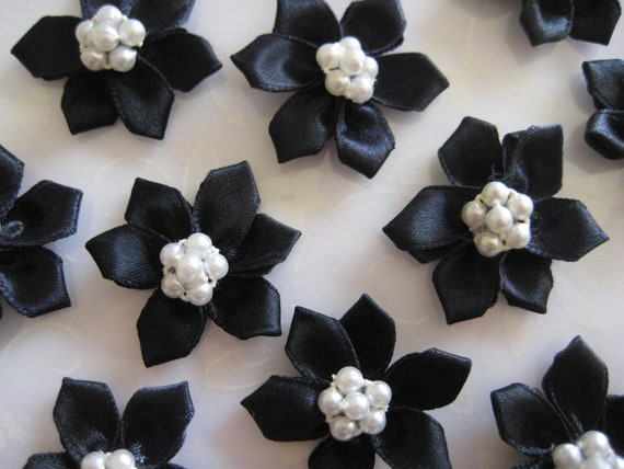 SALE Black Satin Flowers  6 Pearls center for Sewing, Hair Clips, Doll's Clothing, Crafting ,1.25 inches / 30 mm, 12 pieces