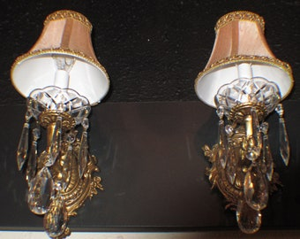 Pair of French style solid bronze ans crystal wall lights sconces by Sergio Merlin