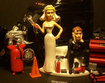 AUTO MECHANIC Peterbilt 387 Black Tractor Trailer Truck WEDDING Cake topper funny