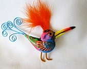 Bird brooch whimsical colorful jewelry pin - artistJP