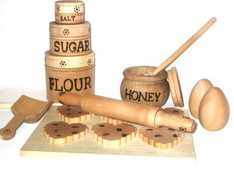REady to ship.   Natural wooden Cookie Baking set for Play Kitchen