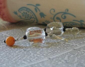 Handmade Plastic Crystal and Pumpkin Dangle Earrings