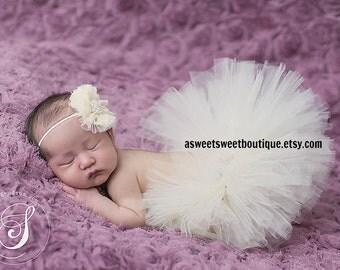 Sweet Ivory Snow Tutu Newborn Tutu Baby Girl Tutu Cream Tutu Off White Tutu Ivory Tutus Baby Girl Tutu And Headband Newborn Photo Prop