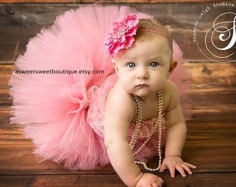 Cake Smash Tutu Cake Smash Outfit Sitter Session Prop First Birthday Tutu Pink Tutu And Headband Newborn Photo Prop Pink Baby Girl Tutu