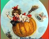 1 1/2 Fabric Cat Button Halloween Autumn Fab Fall orange Flying Pumpkin Broom Hat Witch Black