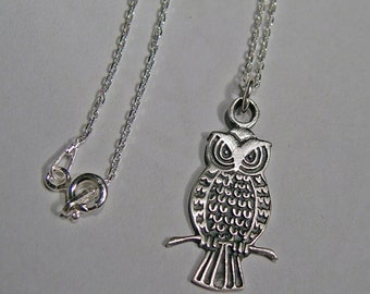 Owl necklace, silver owl, bird necklace, bird jewelry, owl jewelry, small owl, necklace, valentine gift, valentine jewelry, sterling silver