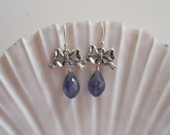 All Tied Up - Sterling Silver Bows with Iolite Briolettes
