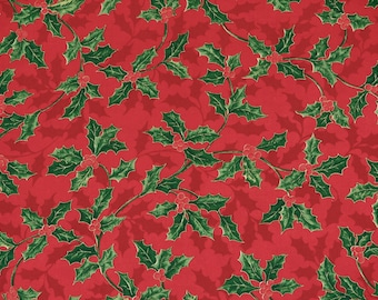 Holy Berry Fabric Red Christmas Fabric Holiday V.I.P. Cranston Print Works Inc.100% Cotton 1/2 Yard.