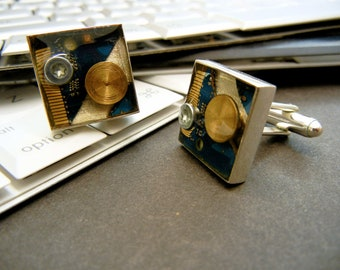 Gold and Blue Cufflinks Set