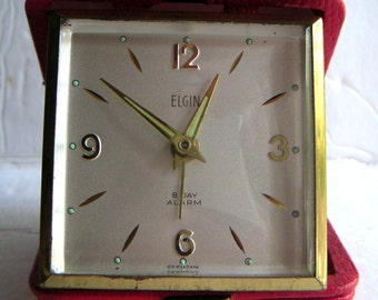 Vintage Travel Alarm Clock. Elgin, 8 Day Alarm,Made in Germany. FREE Shipping
