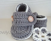 Crochet Baby Booties - 100% Cotton graphit white trim Made-To-Order Newborn - 6 months