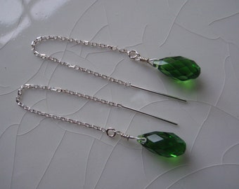Free Shipping - Swarovski Crystal Briolette Drop Earrings Fern Green and Sterling Silver Threader/Ear Thread Earrings