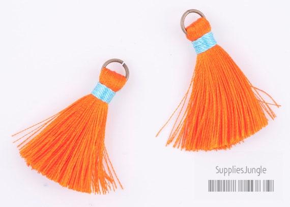 T001-OR// Orange, Mint Rayon Tassel Pendant, 4pcs, 40mm x 8mm