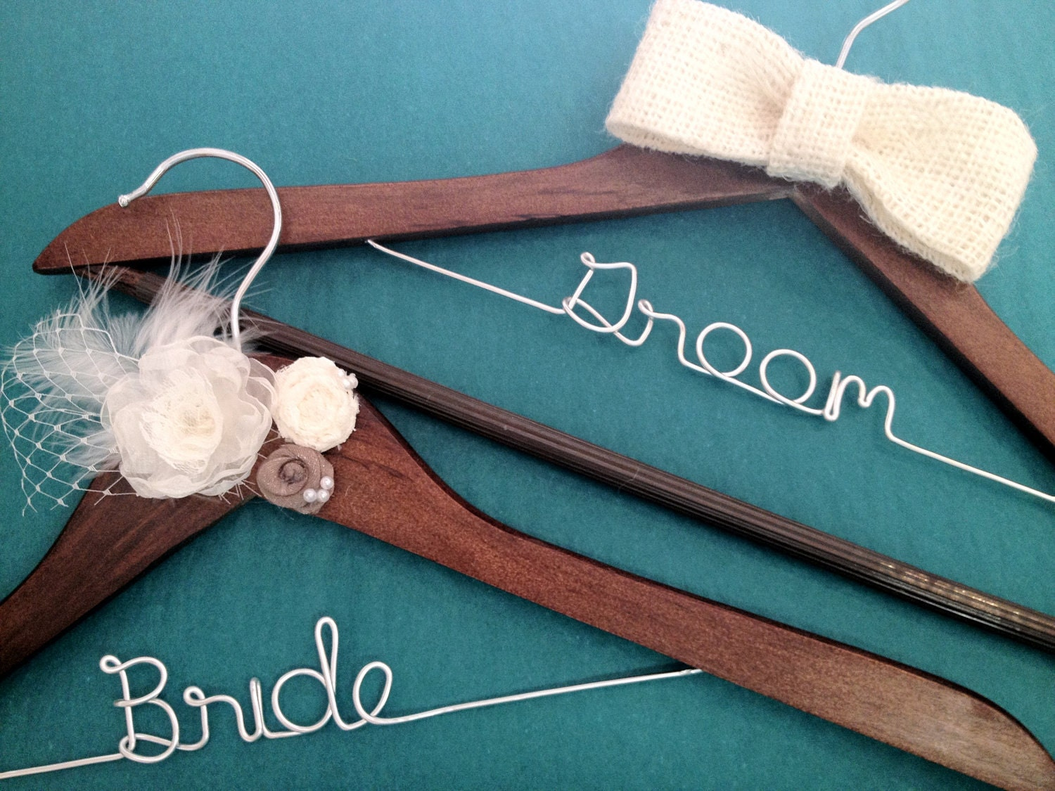 bride groom wedding hanger set personalized wedding