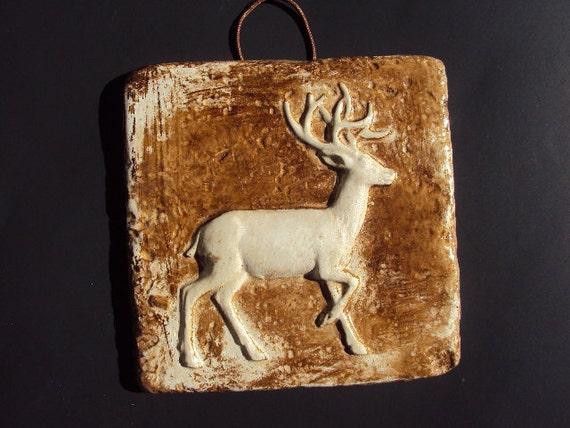 Deer Plaque Light Weight Cement ooak