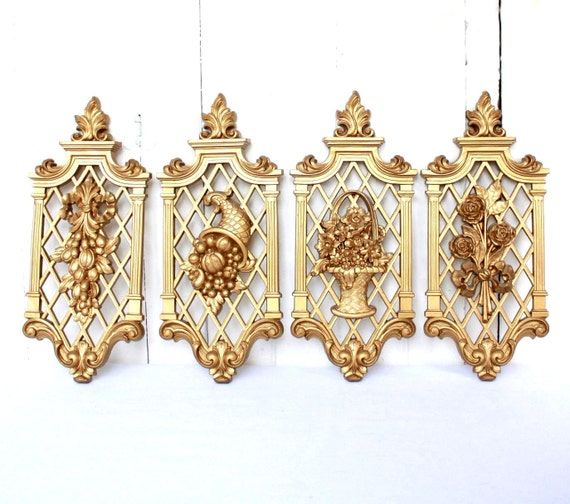 Vintage Gold Wall Plaques, Syroco Style, 4 Seasons, Mid Century Decor, Hollywood Regency Decor