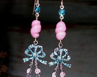 """HANDMADE Blue/Pink Earrings, VINTAGE Pink Glass Twist Bead Zircon Rhinestones & Painted Stamping  - """"Petticoats n Nosgays"""""""