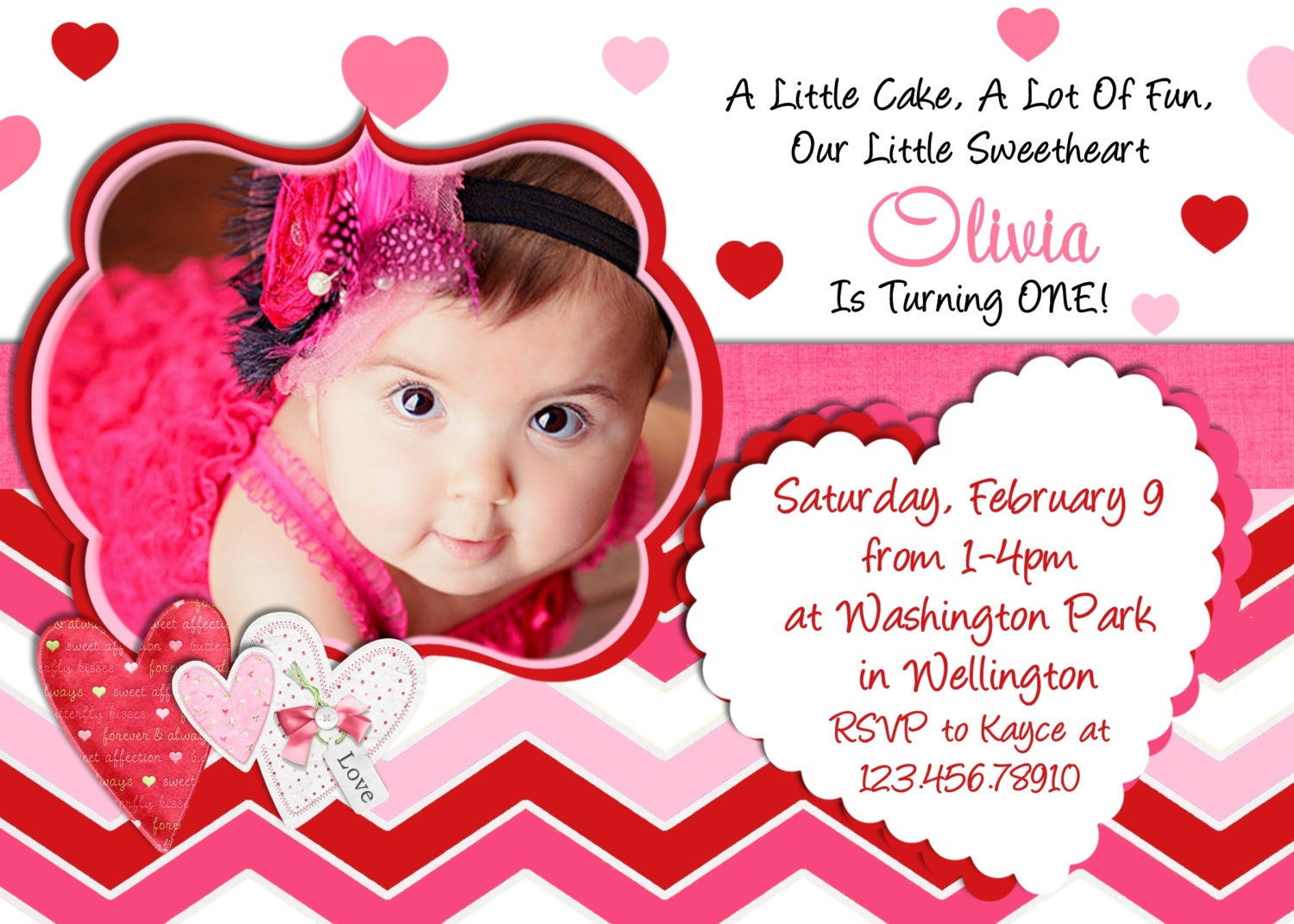 Valentine Birthday Invitation 1st Birthday Valentines Day – Little Girl Party Invitations