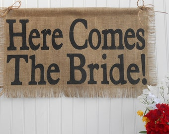 Here Comes The Bride Burlap banner flag wedding sign, flower girl ring bearer decoration aisle signage