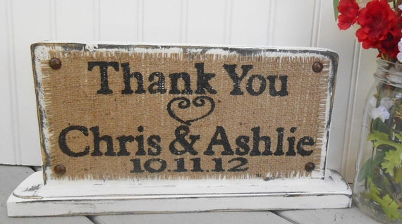 Wedding Sign custom personalized, tabletop, rustic wedding decoration Thank You