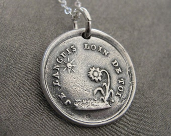 Wax Seal Necklace Sun Flower - antique wax seal charm jewelry French motto I Languish Without You love message by RQP Studio