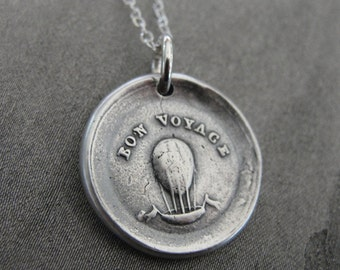 Bon Voyage Balloon Wax Seal Charm Necklace - antique wax seal jewelry - A Good Journey going away gift