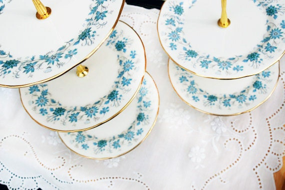 RESERVED LISTING - Tiered Cake Stand Pair - The Blue Flowerette Vintage Cakestand Duo