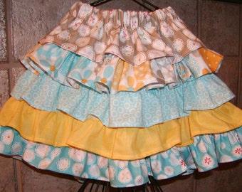 Riley Blake..Ruffles Ruffles..Girls Skirt Custom Twirl skirt. Available in 0-12 months, 1/2, 3/4, 5/6, 7/8, 9/10 Bigger Sizes Available