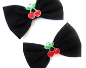"""Black with Cherry detail 3"""" Rockabilly Hair Bows on clips Double Bows Set of two"""