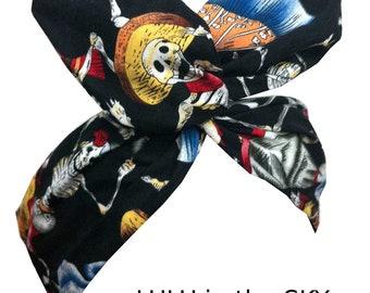Rockabilly wire Headband Black with Dancing Skeletons Skull Print Day of the Dead, Dia de los muertos