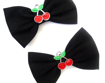 "Black with Cherry detail 3"" Rockabilly Hair Bows on clips Double Bows Set of two"