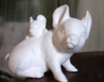 "4"", Cute, piglet and mama pig, Farm Animal, Pig and Baby, Vintage Pig,Ready to paint, u-paint, ceramic bisque"