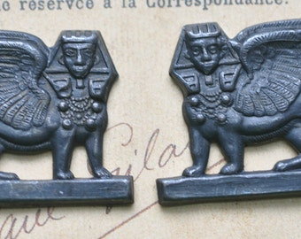 Brass Sphynx, Left and Right Stampings, Black Satin Finish