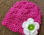 Crochet Shell Stitch Hat With Flower