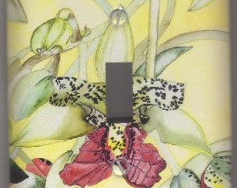 Light Switch Plate Cover  Cymbidiella in Bud - Tropical Orchid - Made in Hawaii